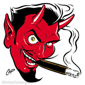 Smokin-039-Devil-Head-STICKER-Decal-Poster-Artist-Coop-CP10-LARGE-SIZE