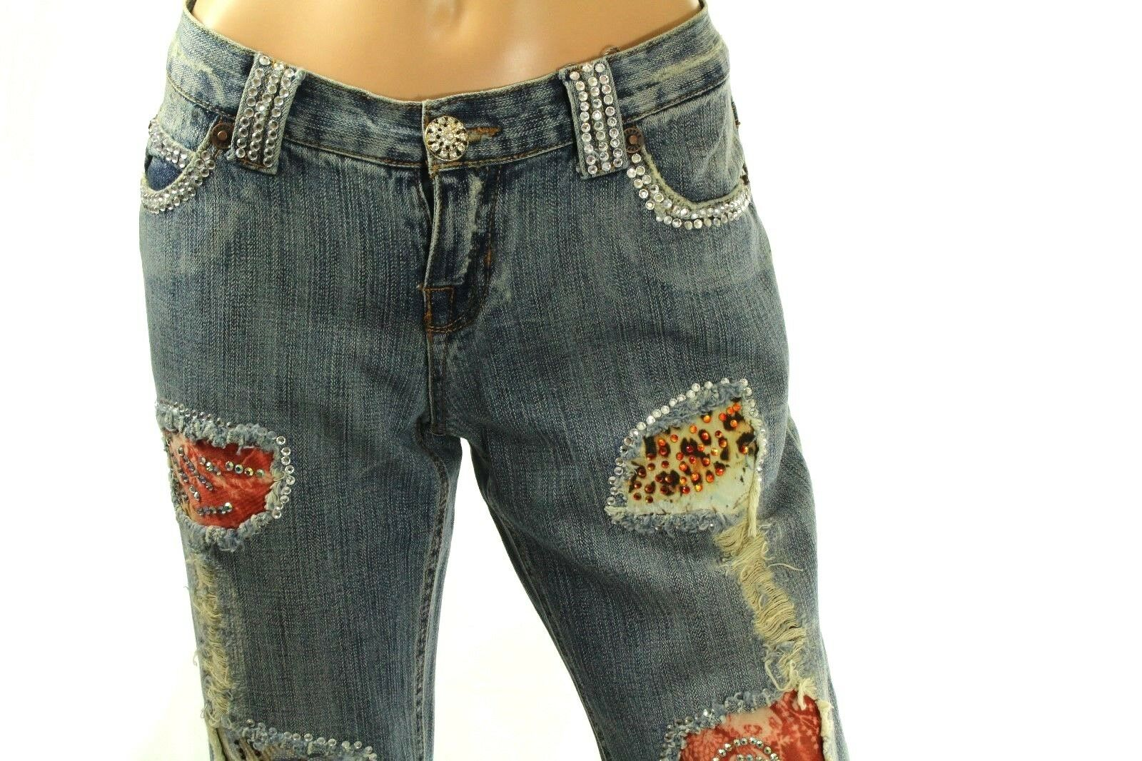 Claudio Milano Damen Swarovski Verziert Jeans Weites Bein Denim Größe 9
