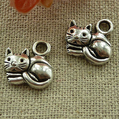 free ship 160 pieces tibetan silver cat charms 14x14mm #2693