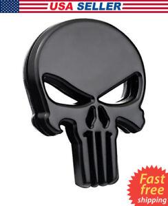 3D-Metal-Punisher-Emblem-Sticker-Skeleton-Skull-Decal-Badge-Car-Bike-Truck-BLACK