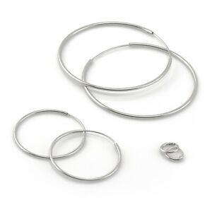 925 Sterling Silver Hoop Earrings 8mm - 50mm Sleeper Ear Hoops