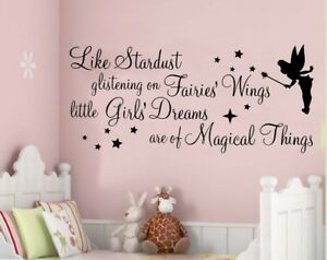 Details about FAIRY WALL ART STICKERS QUOTES GIRLS NURSERY BEDROOM DECALS  PHRASES STARDUST