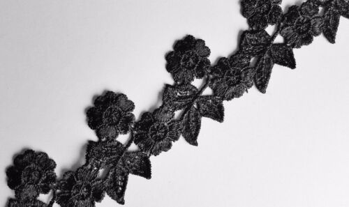 One Yard Black Floral Embroidery Guipure Lace Trim Applique Motif  LC0046
