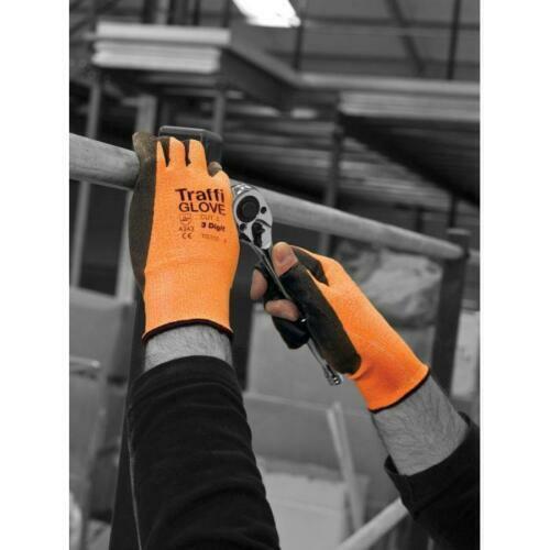 TraffiGlove TG350 Amber 3 Digit Polyurethane Work Glove Cut Level-3 Size 7