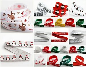 Christmas-Grosgrain-Satin-Ribbon-9mm-or-16mm-x-5m-Reindeer-Snow-Puddings