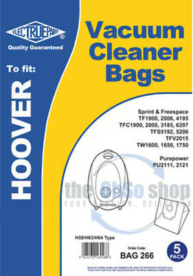 hv5206xp1 5 x Hoover Vacuum Cleaner Bags h58//h63//h64 type-Flash tf2005