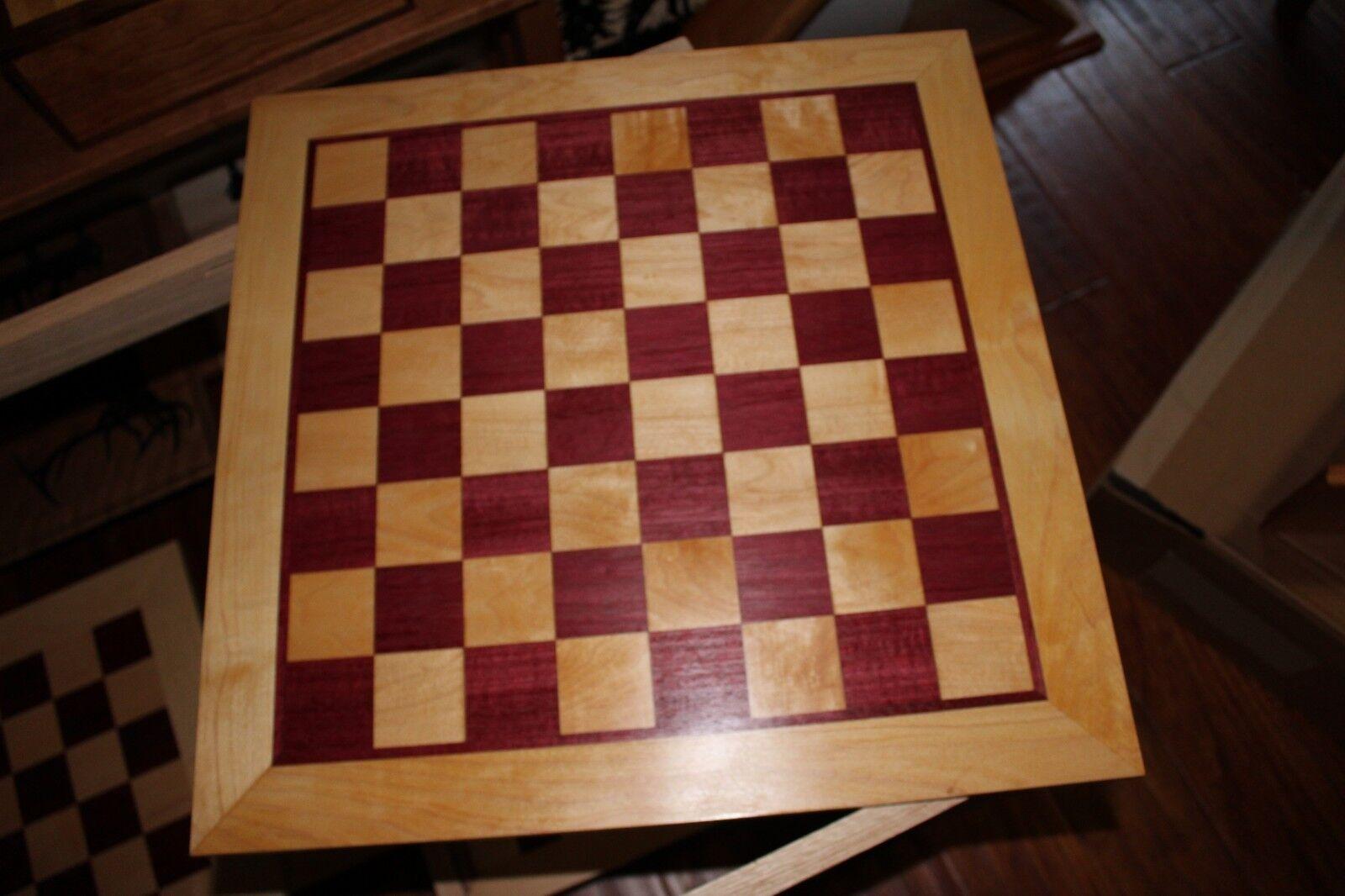 Hecho A Mano Corazón Púrpura y Maple Tablero de ajedrez