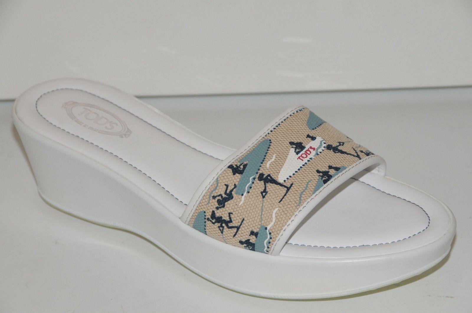 contador genuino Nuevo TOD'S Tods blancooo Azul Azul Azul Beis Miami Sandalias Desliza Zapatillas 10  buen precio