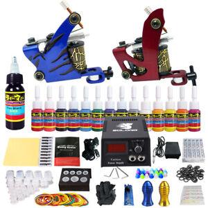 Complete Beginner Tattoo Kit 2 Machine Guns 14 Inks Power Supply ...
