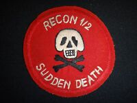 RECON 1st Bn 2nd Infantry Regiment SUDDEN DEATH Vietnam War Hand Made Patch
