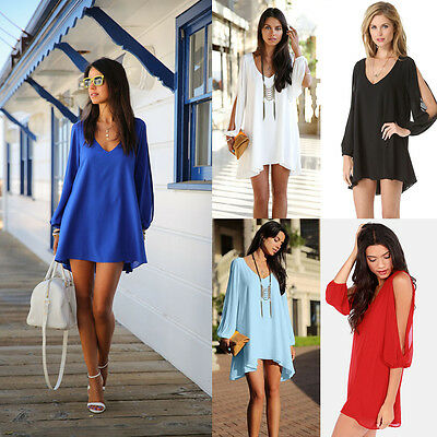 Women Summer Chiffon Loose Sleeveless Party Evening Cocktail Short Mini Dress