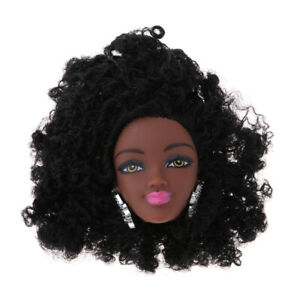 12inch Black Doll Vinyl Head with Afro Hair Girl Gift Doll Accessory Toy 8cm