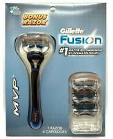 Gillette Fusion Mvp Kit (1 Razor + 4 Cartridges) Free Shipping