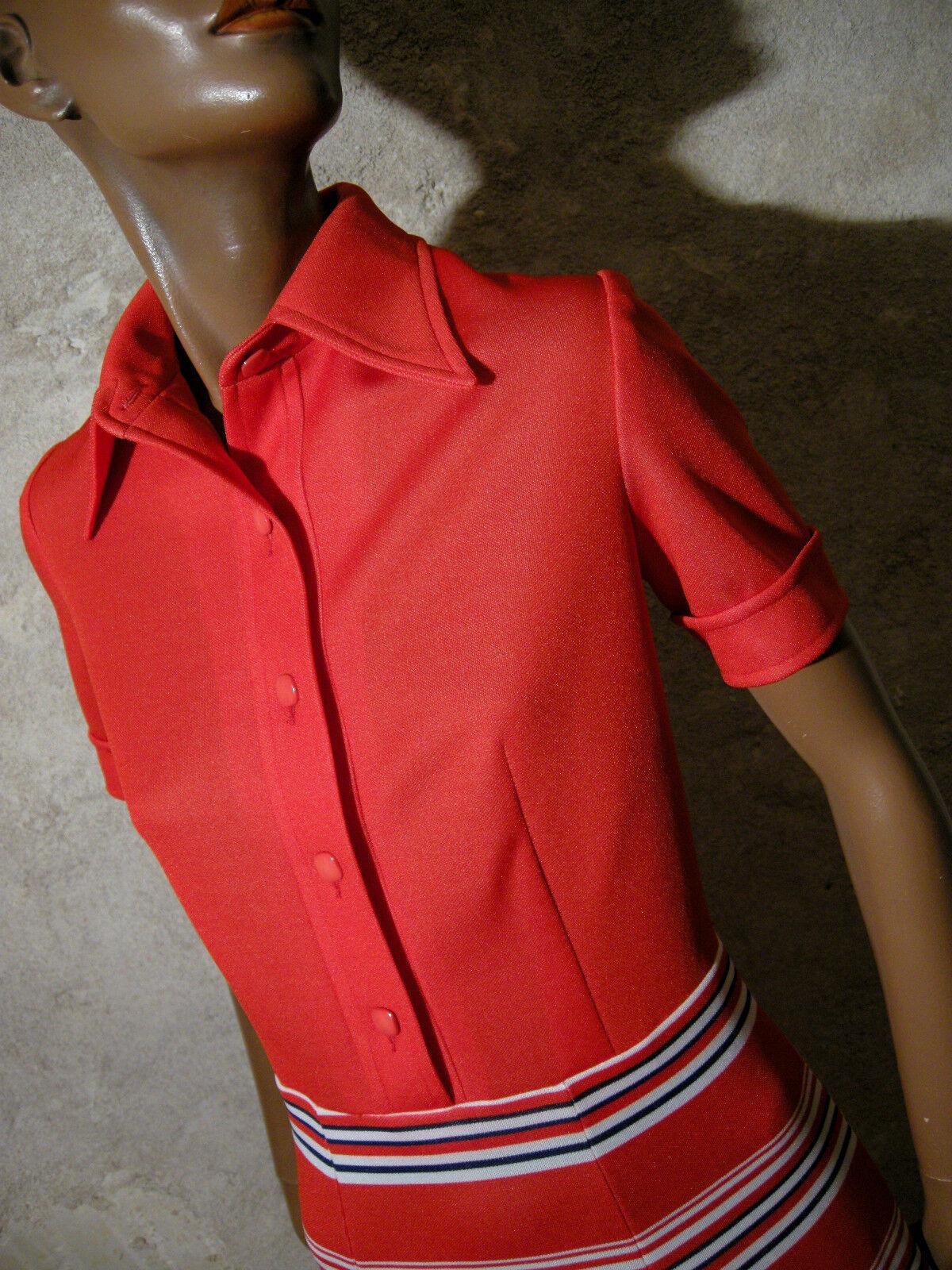Schick Vintage Kleid 1970 Vtg 70s 70er Abito-Anni 70 Siebziger Jahre (38