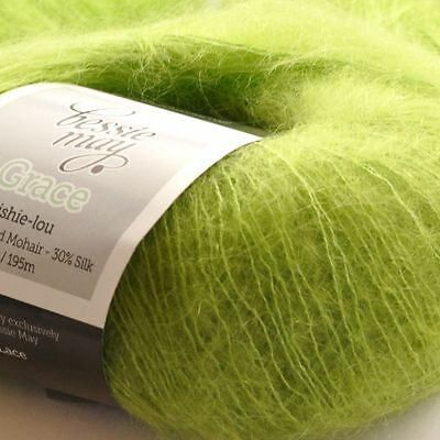 Super Kid Mohair /& Silk Hand Knit Lace Wool Yarn ~ Bessie May GRACE in Blue
