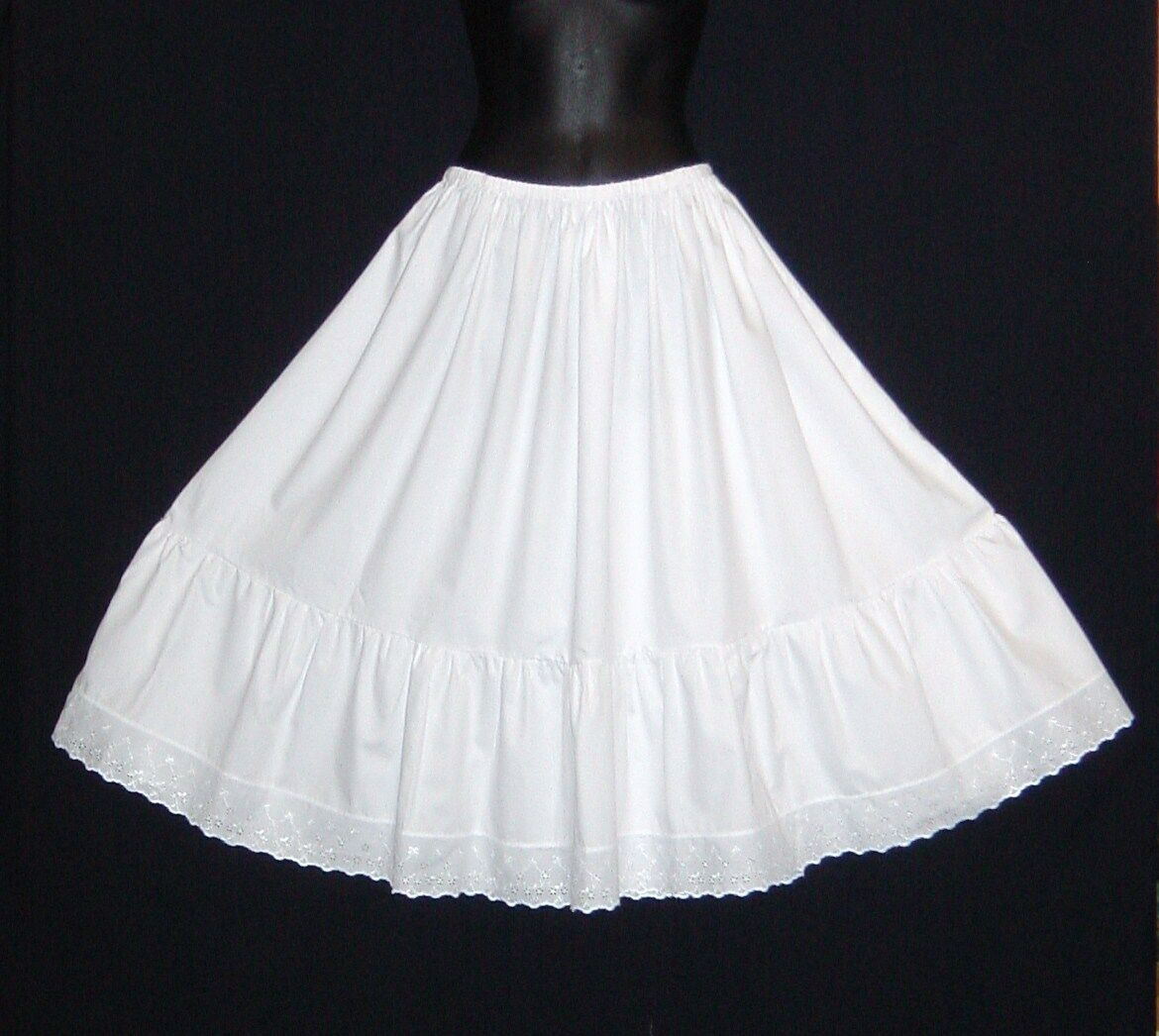 Crisp Cotton petticoat prices from .99, lengths 23 -40  knee to floor length