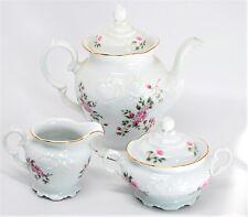 Wawel Poland China Rose Garden Coffee Tea Pot Sugar Bowl Creamer