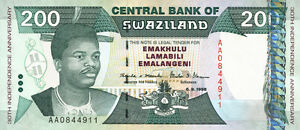 We Have Won Praise From Customers 1 Bright Swasiland Swaziland 200 Emalangeni 1998 Pick 28