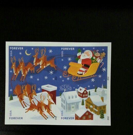 2012 45c Santa & Sleigh, Imperforate, Block of 4 Scott