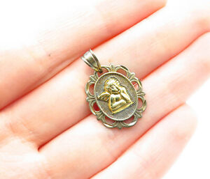 925-Sterling-Silver-Vintage-Petite-Two-Tone-Baby-Angel-Drop-Pendant-P9900