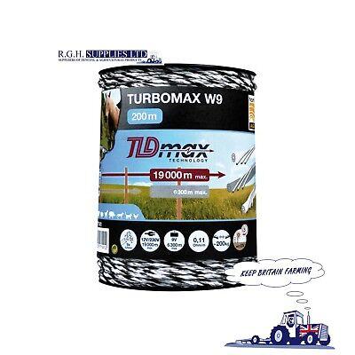 Dinamico Piano W9 Turbomax Elettrico Scherma Polywire - 200 M Roll - 9 X 0.25 Mm Ciocche- Meno Caro