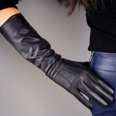 "Real Leather Gloves 16"" 40cm Long Black Genuine Sheepskin Lambskin Elbow Evening"