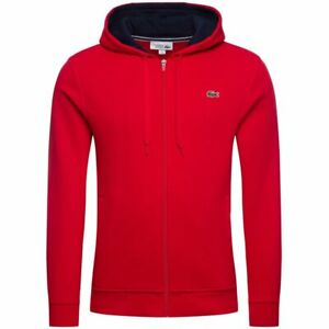 Lacoste-Sport-Men-039-s-2020-Hooded-Top-Fleece-Hoodie-Red-Small-38-034-Chest