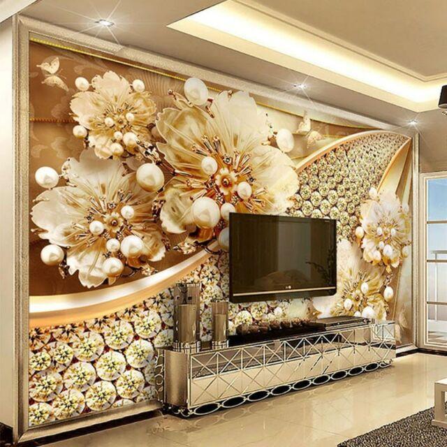 Photo Wallpaper 3d Embossed Gold Flower European Living Room Tv Background