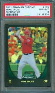 2011-Bowman-Chrome-Refractor-MIKE-TROUT-Rookie-Card-Angels-175-PSA-8