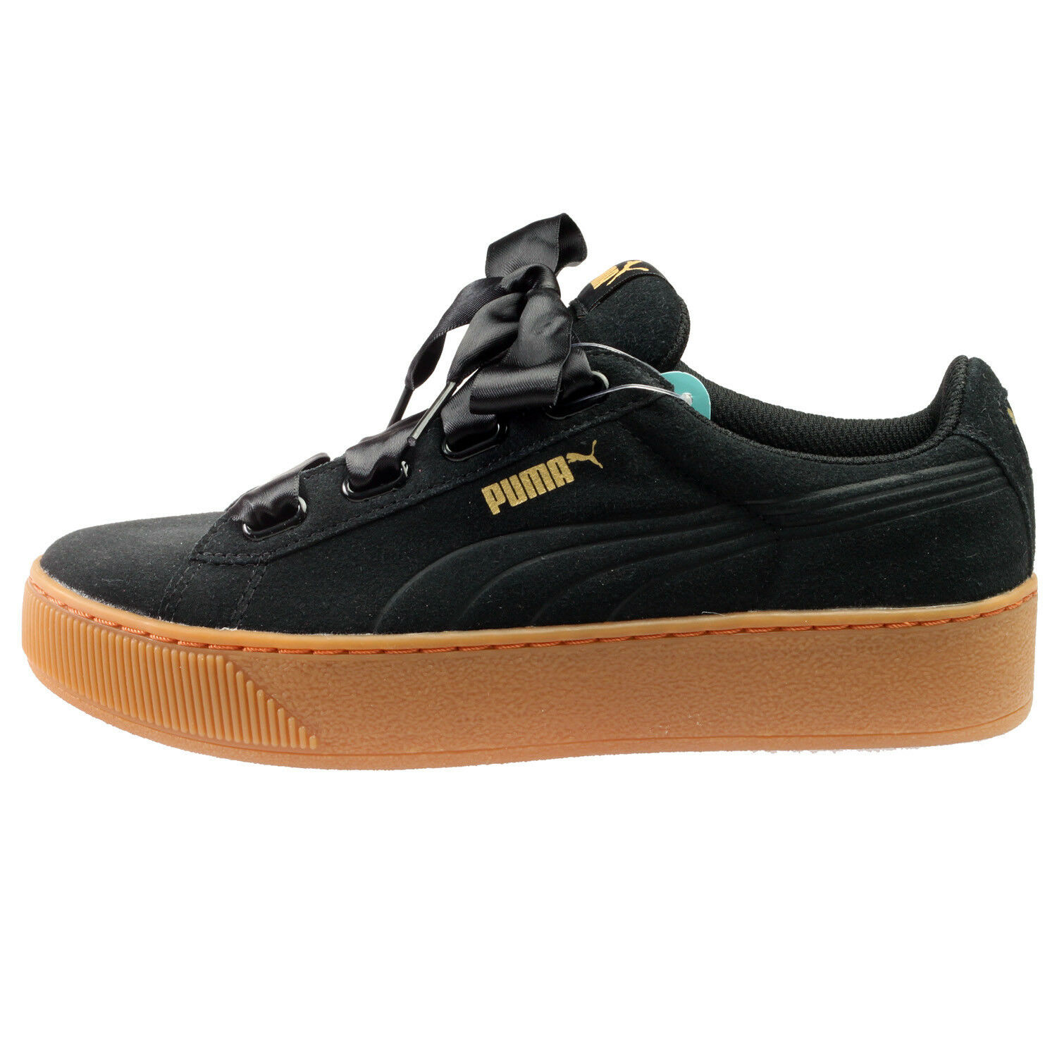 Puma Vikky Black Platform Ribbon Womens 364979-01 Black Vikky Suede Bow Shoes Size 8 38e9cb