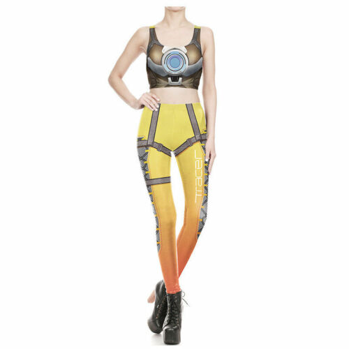 OW Overwatch Tracer  2 Pcs Women Cosplay Costume Leggings Stretch Top+Pants