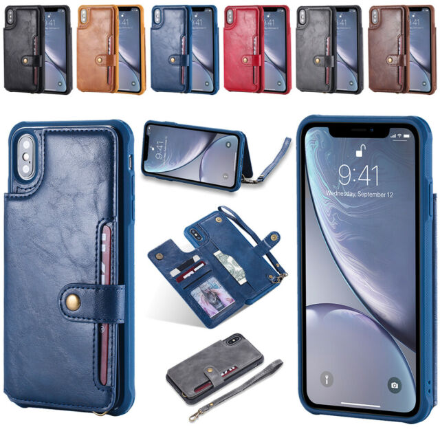 e7252d1c6d Leather Wallet Case for Samsung Galaxy S8 S9 Plus Note 8 9 Card Holder Cover