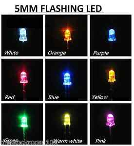 FREE POST WATER CLEAR COLOUR: RED 50X 5mm SUPER BRIGHT LEDs DIODES 3V