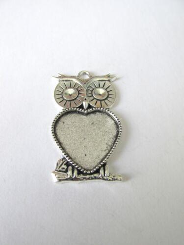 5pcs tibetan style owl pendants 20mm heart  setting glass jewellery craft UK