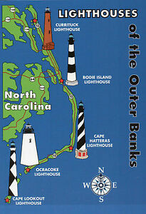 Outer Banks Lighthouses State Map, Cape Hatteras + North Carolina 5 ...