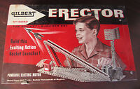 Vintage GILBERT ERECTOR ROCKET LAUNCHER Set 10052 W/ MOTOR And MANY MANY PARTS