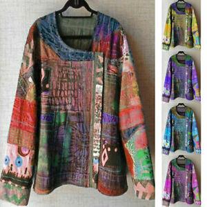 T-Oversize-V-Neck-Sleeve-Women-Long-US-thin-Blouse-Floral-Tops-Shirt-Lantern