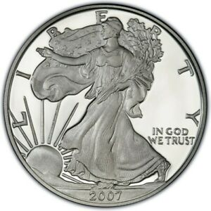 WALKING-LIBERTY-SILVER-BULLION-COIN-USA-AMERICAN-EAGLE-1oz-2007-IN-CAPSULE