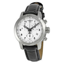 Tissot PRC200 Chronograph Silver Dial Black Leather Ladies Watch T0552171603202