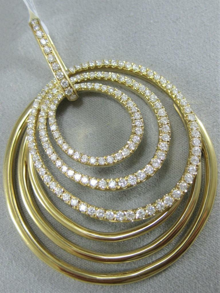 MODERN DESIGNER 2.25CTW DIAMOND 18K gold GRADUATING OVALS CIRCLES PENDANT 800074