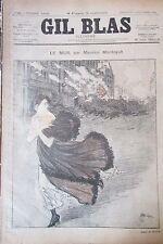 JOURNAL GIL BLAS N° 22 de 1891 MONTEGUT DESSIN STEINLEN PARTITION MUSIQUE XANROF
