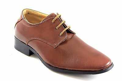 La Milano Boys Tan Genuine Leather Oxford Dress Shoes Style# AT6231