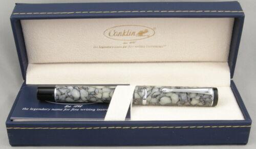 NEW! Conklin Duragraph Cracked Ice /& Chrome Fountain Pen Medium Nib