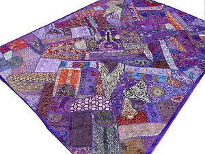 dessus de lit indien patchwork violet couvre lit fait main. Black Bedroom Furniture Sets. Home Design Ideas