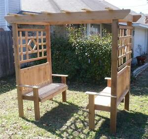 New All Cedar Wood Double Garden Arbor Bench Arch 2