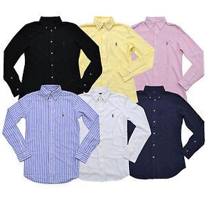 Ralph-Lauren-Womens-Buttondown-Shirt-Long-Sleeve-Mesh-Knit-Oxford-Collared-Top