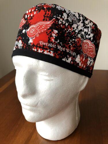 Skull Cap Detroit Red Wings Street Art Men's Surgical Scrub Hat