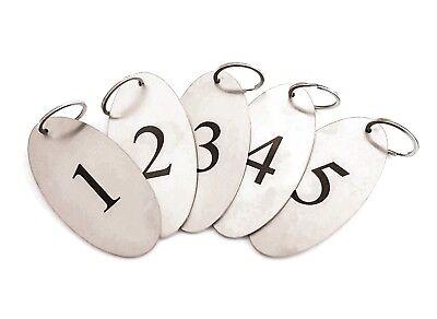 Acciaio Inox, Portachiavi, 1 A 5 - Resistente, Ovale Con Numeri Neri