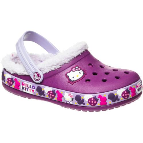 CROCS 12384-55H HELLO KITTY  Infs//Yth/'s Purple Croslite Slip-On Clogs M