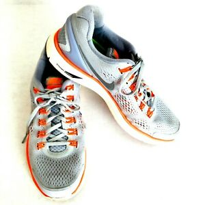 Nike-Lunarglide-4-Mens-Running-Shoes-Gray-Orange-Size-10-Dynamic-Support-Sole